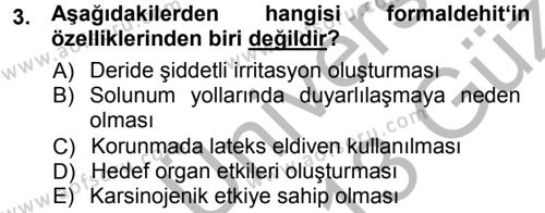 Laborant ve Veteriner Sağlık Bölümü 3. Yarıyıl Temel Veteriner Patoloji Dersi 2013 Yılı Güz Dönemi Ara Sınavı 3. Soru