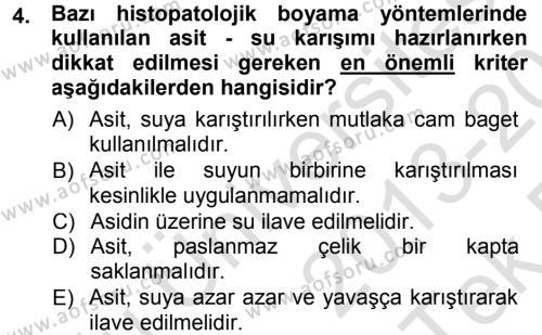 Temel Veteriner Patoloji Dersi 2013 - 2014 Yılı Tek Ders Sınav Soruları 4. Soru