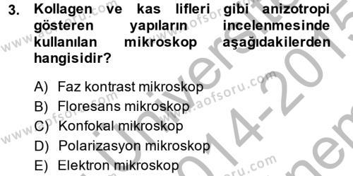 Temel Veteriner Patoloji Dersi 2014 - 2015 Yılı (Final) Dönem Sonu Sınav Soruları 3. Soru