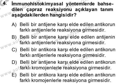 Temel Veteriner Patoloji Dersi 2014 - 2015 Yılı (Final) Dönem Sonu Sınav Soruları 4. Soru