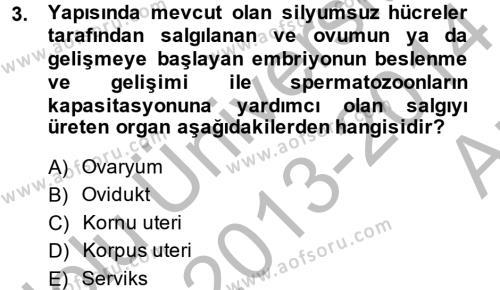 Laborant ve Veteriner Sağlık Bölümü 4. Yarıyıl Doğum Bilgisi ve Suni Tohumlama Dersi 2014 Yılı Bahar Dönemi Ara Sınavı 3. Soru