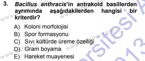 Veteriner Mikrobiyoloji ve Epidemiyoloji Dersi 2012 - 2013 Yılı (Final) Dönem Sonu Sınav Soruları 3. Soru