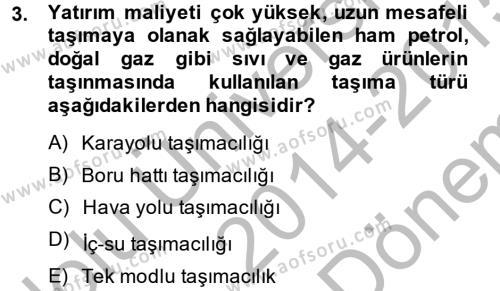 Lojistik İlkeleri Dersi 2014 - 2015 Yılı (Final) Dönem Sonu Sınav Soruları 3. Soru