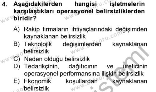 Lojistik Bölümü 2. Yarıyıl Lojistik Yönetimi Dersi 2013 Yılı Bahar Dönemi Dönem Sonu Sınavı 4. Soru