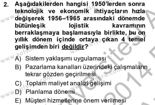 Lojistik Bölümü 2. Yarıyıl Lojistik Yönetimi Dersi 2014 Yılı Bahar Dönemi Ara Sınavı 2. Soru