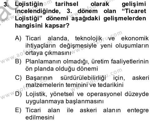Lojistik Bölümü 2. Yarıyıl Lojistik Yönetimi Dersi 2015 Yılı Bahar Dönemi Ara Sınavı 3. Soru