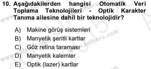 Lojistikte Teknoloji Kullanımı Dersi Ara Sınavı Deneme Sınav Soruları 10. Soru