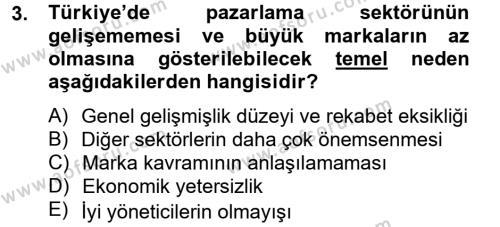 Halkla İlişkiler ve Tanıtım Bölümü 2. Yarıyıl Marka ve Yönetimi Dersi 2013 Yılı Bahar Dönemi Ara Sınavı 3. Soru