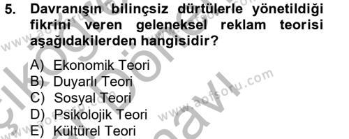 Halkla İlişkiler ve Reklamcılık Bölümü 2. Yarıyıl Marka ve Yönetimi Dersi 2013 Yılı Bahar Dönemi Dönem Sonu Sınavı 5. Soru