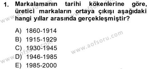Marka ve Yönetimi Dersi 2013 - 2014 Yılı Ara Sınavı 1. Soru