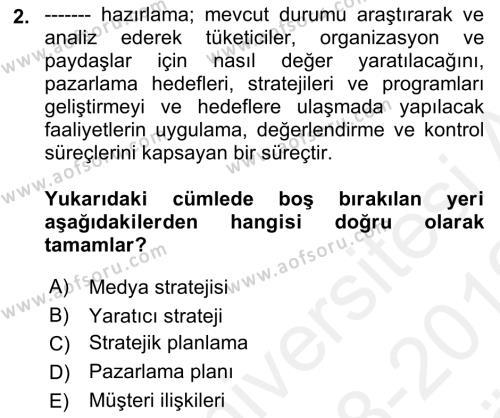 Marka ve Yönetimi Dersi Ara Sınavı Deneme Sınav Soruları 2. Soru
