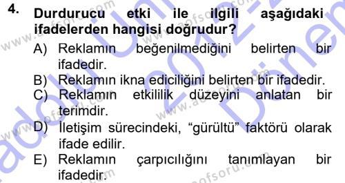 Reklamcılık Dersi 2012 - 2013 Yılı Dönem Sonu Sınavı 4. Soru