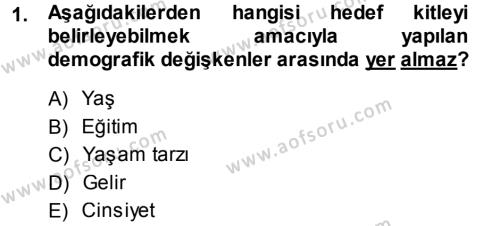 Halkla İlişkiler ve Reklamcılık Bölümü 3. Yarıyıl Reklamcılık Dersi 2014 Yılı Güz Dönemi Ara Sınavı 1. Soru