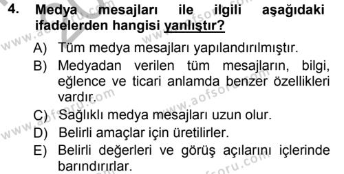 Halkla İlişkiler ve Reklamcılık Bölümü 7. Yarıyıl Medya Planlama Dersi 2013 Yılı Güz Dönemi Ara Sınavı 4. Soru