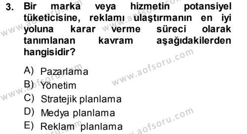 Halkla İlişkiler ve Reklamcılık Bölümü 7. Yarıyıl Medya Planlama Dersi 2014 Yılı Güz Dönemi Ara Sınavı 3. Soru