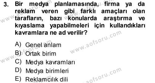 Medya Planlama Dersi 2013 - 2014 Yılı Dönem Sonu Sınavı 3. Soru
