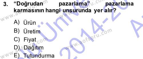 Halkla İlişkiler ve Reklamcılık Bölümü 7. Yarıyıl Medya Planlama Dersi 2015 Yılı Güz Dönemi Ara Sınavı 3. Soru