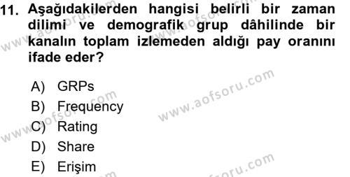 Medya Planlama Dersi Ara Sınavı Deneme Sınav Soruları 11. Soru