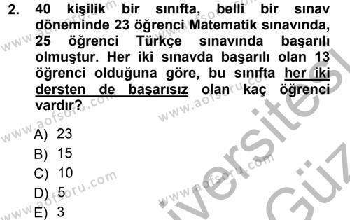 Genel Matematik Dersi 2012 - 2013 Yılı (Vize) Ara Sınav Soruları 2. Soru