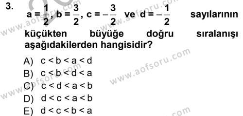 Felsefe Bölümü 2. Yarıyıl Genel Matematik Dersi 2013 Yılı Bahar Dönemi Ara Sınavı 3. Soru