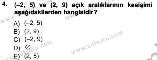 Felsefe Bölümü 2. Yarıyıl Genel Matematik Dersi 2013 Yılı Bahar Dönemi Ara Sınavı 4. Soru