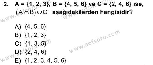 Dış Ticaret Bölümü 1. Yarıyıl Genel Matematik Dersi 2013 Yılı Güz Dönemi Dönem Sonu Sınavı 2. Soru