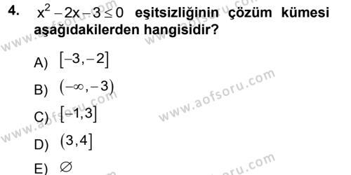 Dış Ticaret Bölümü 1. Yarıyıl Genel Matematik Dersi 2013 Yılı Güz Dönemi Dönem Sonu Sınavı 4. Soru