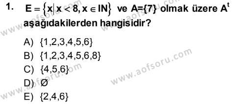 Yerel Yönetimler Bölümü 1. Yarıyıl Genel Matematik Dersi 2014 Yılı Güz Dönemi Ara Sınavı 1. Soru