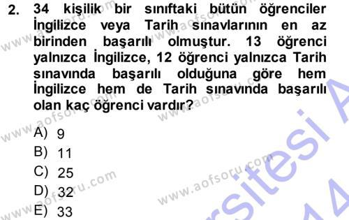 Genel Matematik Dersi 2013 - 2014 Yılı Ara Sınavı 2. Soru