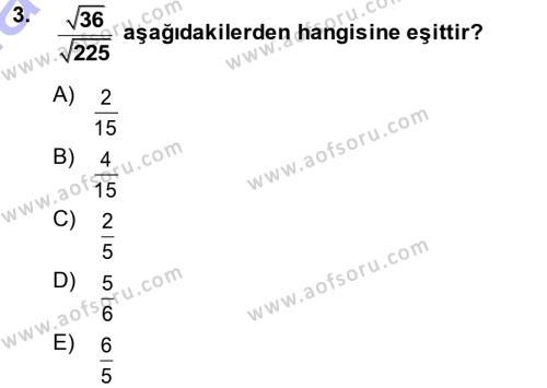 Yerel Yönetimler Bölümü 1. Yarıyıl Genel Matematik Dersi 2014 Yılı Güz Dönemi Ara Sınavı 3. Soru