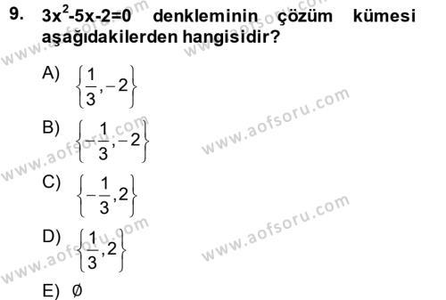 Genel Matematik Dersi Ara Sınavı Deneme Sınav Soruları 9. Soru