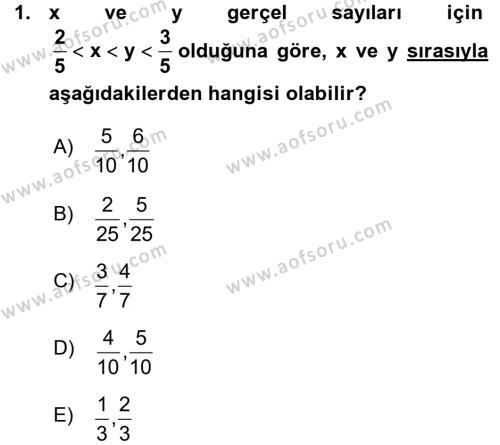 Genel Matematik Dersi 2015 - 2016 Yılı Ara Sınavı 1. Soru