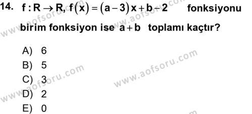 Genel Matematik Dersi Ara Sınavı Deneme Sınav Soruları 14. Soru