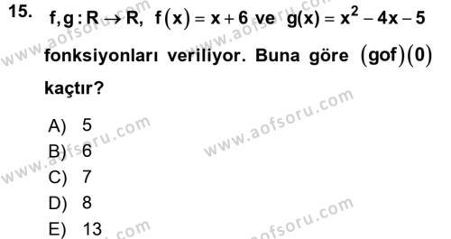 Genel Matematik Dersi Ara Sınavı Deneme Sınav Soruları 15. Soru