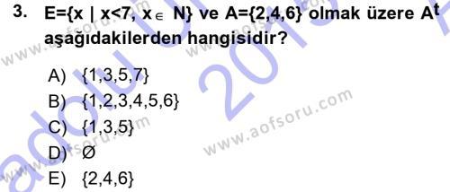 Felsefe Bölümü 2. Yarıyıl Genel Matematik Dersi 2016 Yılı Bahar Dönemi Ara Sınavı 3. Soru