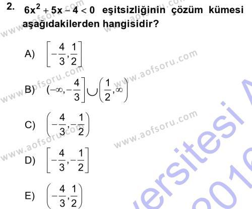Genel Matematik Dersi 2015 - 2016 Yılı Dönem Sonu Sınavı 2. Soru