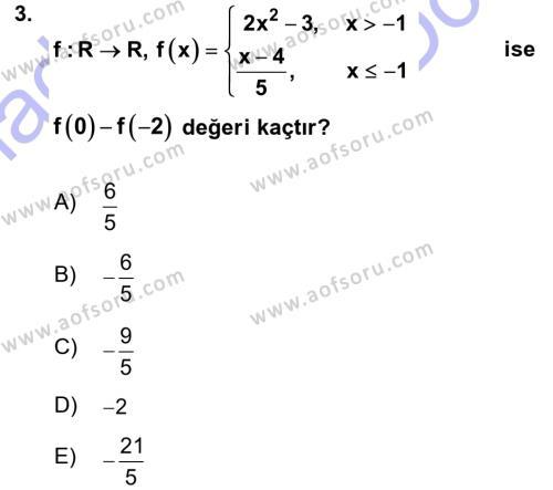 Genel Matematik Dersi 2015 - 2016 Yılı Dönem Sonu Sınavı 3. Soru