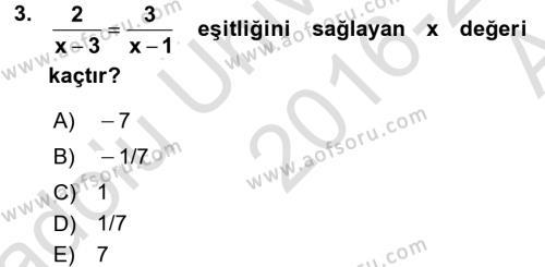 Genel Matematik Dersi 2016 - 2017 Yılı (Vize) Ara Sınav Soruları 3. Soru