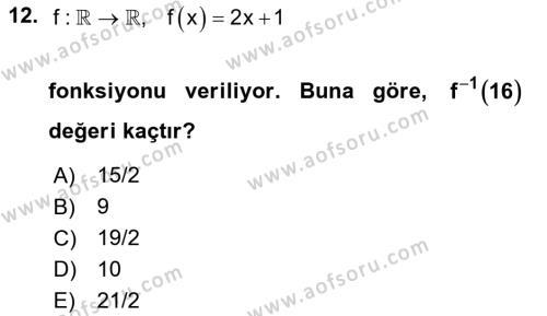 Genel Matematik Dersi Ara Sınavı Deneme Sınav Soruları 12. Soru