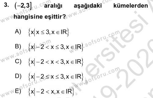 Genel Matematik Dersi 2019 - 2020 Yılı (Final) Dönem Sonu Sınav Soruları 3. Soru