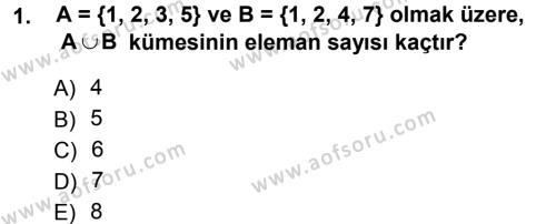 Matematik 1 Dersi 2012 - 2013 Yılı Ara Sınavı 1. Soru