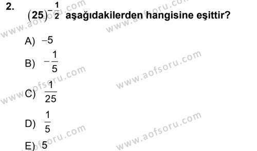 Matematik 1 Dersi 2012 - 2013 Yılı Ara Sınavı 2. Soru