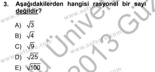 Matematik 1 Dersi 2012 - 2013 Yılı (Vize) Ara Sınav Soruları 3. Soru