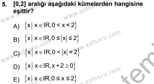 Çalışma Ekonomisi ve Endüstri İlişkileri Bölümü 1. Yarıyıl Matematik I Dersi 2013 Yılı Güz Dönemi Ara Sınavı 5. Soru