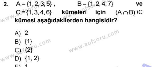Elektrik Enerjisi Üretim, İletim ve Dağıtımı Bölümü 1. Yarıyıl Matematik I Dersi 2013 Yılı Güz Dönemi Dönem Sonu Sınavı 2. Soru