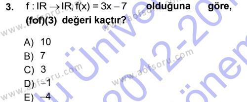 Elektrik Enerjisi Üretim, İletim ve Dağıtımı Bölümü 1. Yarıyıl Matematik I Dersi 2013 Yılı Güz Dönemi Dönem Sonu Sınavı 3. Soru