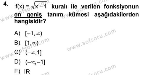 Matematik 1 Dersi 2012 - 2013 Yılı Dönem Sonu Sınavı 4. Soru