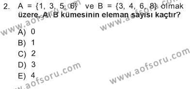 Elektrik Enerjisi Üretim, İletim ve Dağıtımı Bölümü 1. Yarıyıl Matematik I Dersi 2013 Yılı Güz Dönemi Tek Ders Sınavı 2. Soru