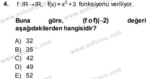 Lojistik Bölümü 1. Yarıyıl Matematik I Dersi 2014 Yılı Güz Dönemi Dönem Sonu Sınavı 4. Soru