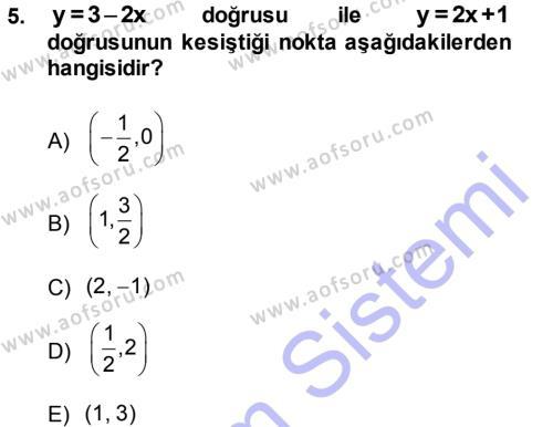 Lojistik Bölümü 1. Yarıyıl Matematik I Dersi 2014 Yılı Güz Dönemi Dönem Sonu Sınavı 5. Soru
